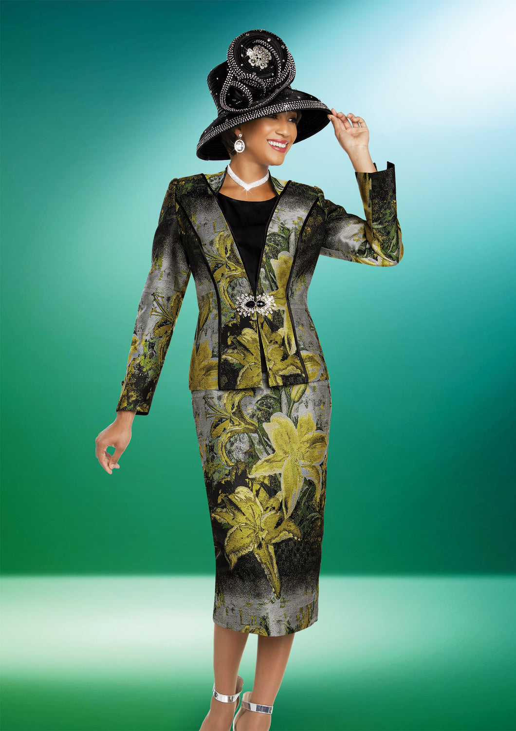 Ben Marc Brocade Multiprint 3 Pc Suit - 48271