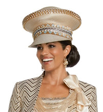 Load image into Gallery viewer, Donna Vinci Rhinestone Trimmed Champagne Hat - H5633