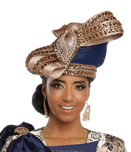 Donna Vinci Rhinestone Trimmed Navy and Gold Hat - H5636