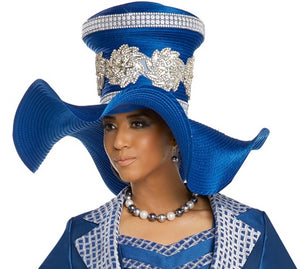 Donna Vinci Rhinestone Trimmed Royal Blue Hat - H5637