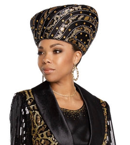 Donna Vinci Black and Gold Hat - H5642