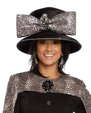 Load image into Gallery viewer, Donna Vinci Leopard Black Bow Hat - H5658