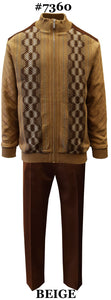 Silver Silk Men's Leisure Suit 2 Pieces With Zip Front Sweater And Matching Pants  Color - Beige  Sizes X-Large To 3XL