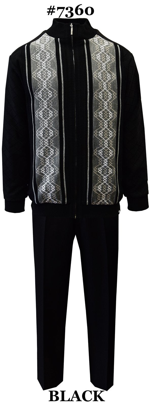 Silver Silk Men's Leisure Suit 2 Pieces With Zip Front Sweater And Matching Pants  Color - Black And White Sizes X-Large To 3X-Large
