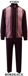 Silver Silk Men's Leisure Suit 2 Pieces With Zip Front Sweater And Matching Pants Color - Bordeaux Sizes X-Large To 3X-Large