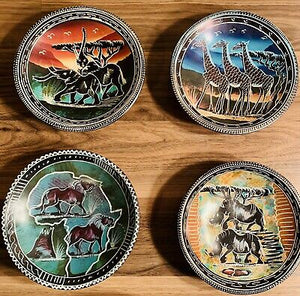 African Artwork  African Kenya Soapstone Hand Carved Bowl Plates Decorative Assorted Plates  SKU: HANAH11