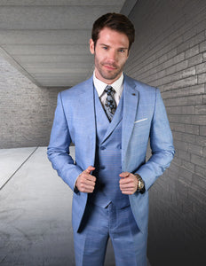 3PC Tailored Fitted Blue Suit - A6B -