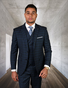 3PC Tailored Fitted Blue Suit -