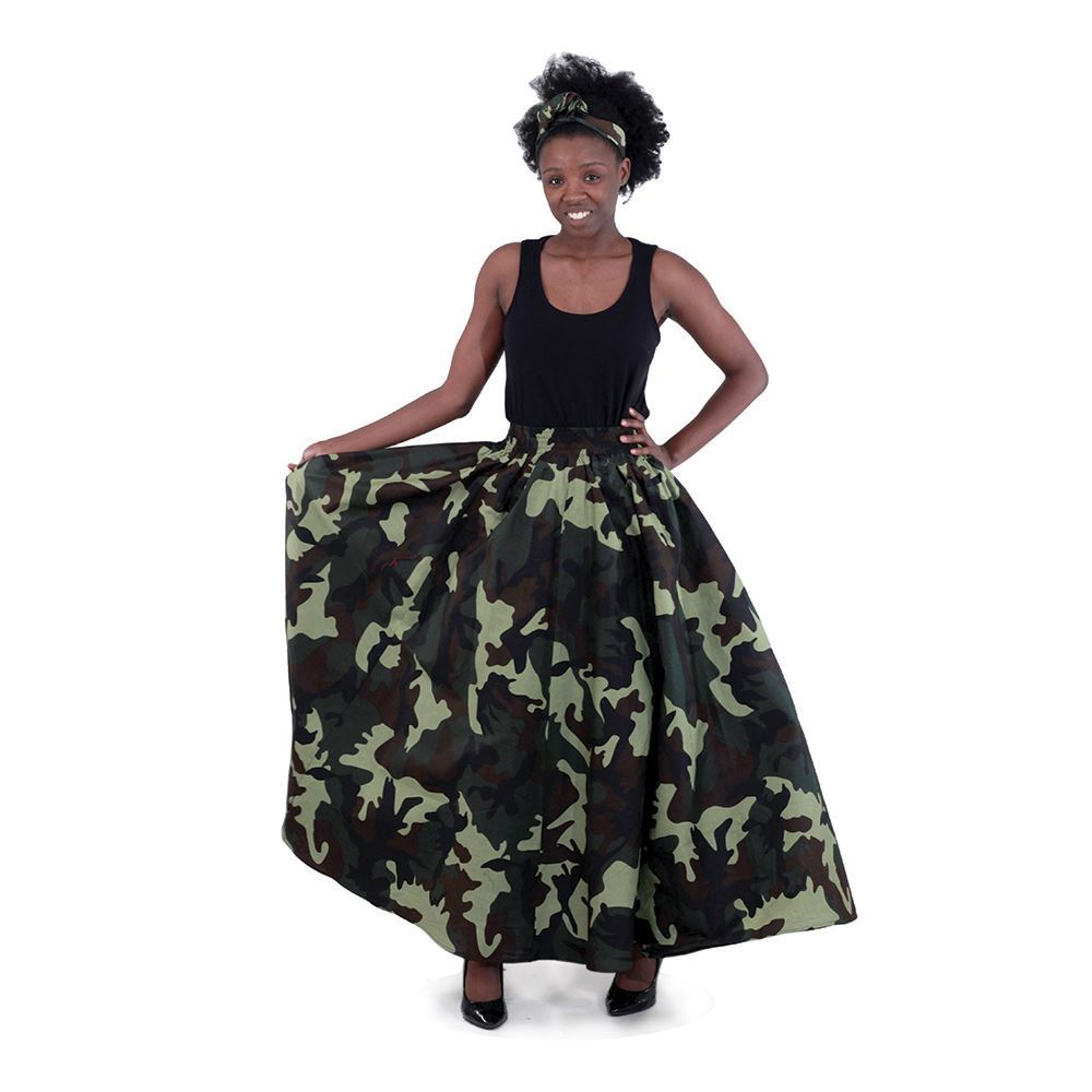 African Imports - Camo Print Maxi Skirt   SKU: C-W136 Green      ( One Size Fits All )