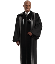Load image into Gallery viewer, Black Wonder Crepe with black Velvet Panels - Bishop H-8
