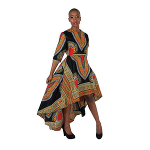 African Imports - Formal Traditional Print Hi-Lo Dress 2 colors White / Black  SKU: C-WK023