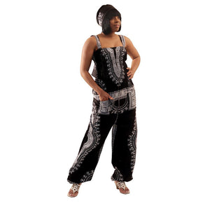 African Imports - Traditional Print Jumpsuit  SKU:C-WH537 Black        ( One Size Fits All )