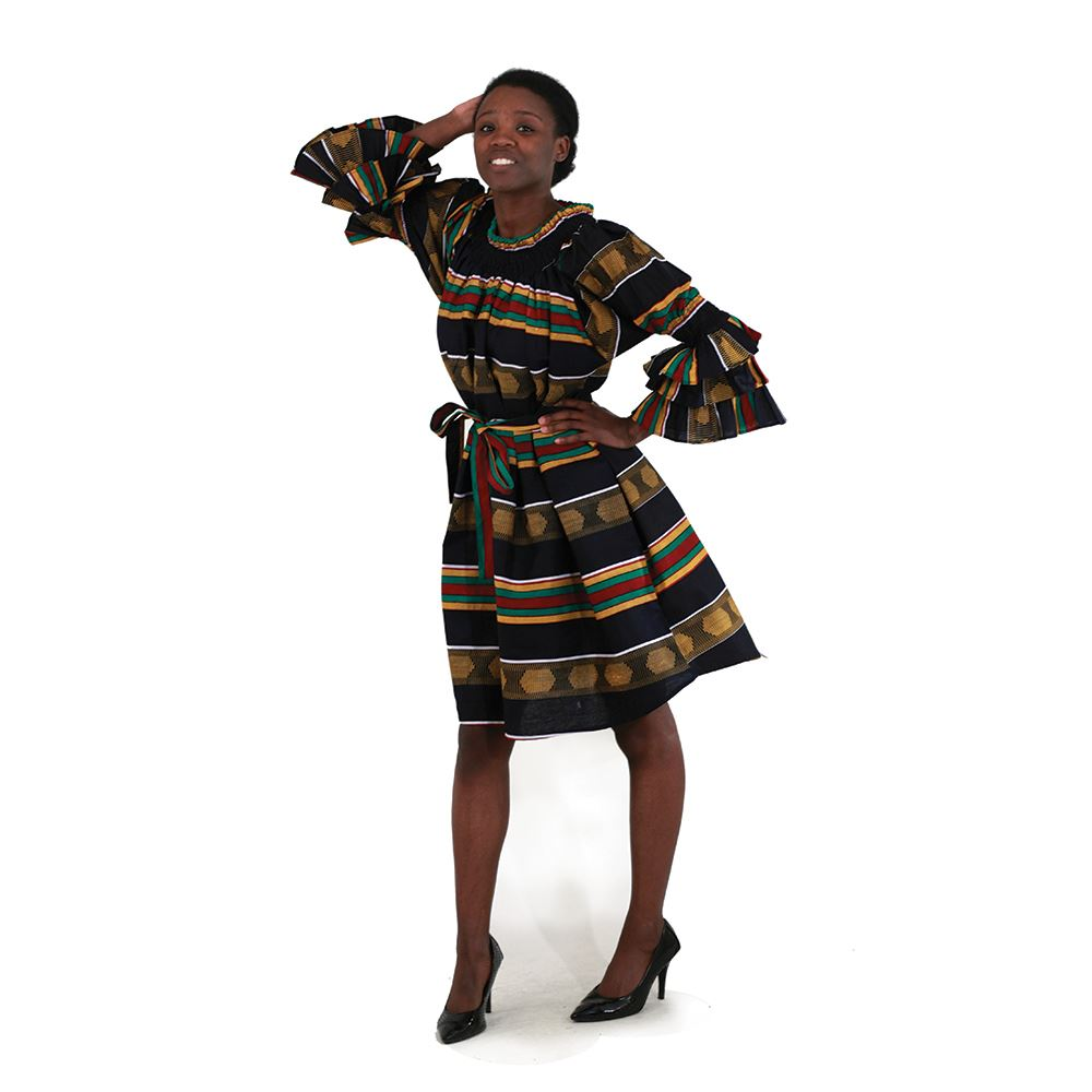 African Imports-  Kente Off-The-Shoulder Dress   SKU: C-WH082:4   ( One Size Fits All )