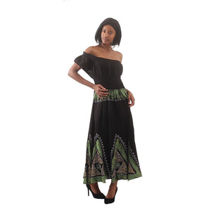 African Imports -  Batik Princess Dress Color Black / Green  SKU: C-WH646:Blk/Grn   ( One Size Fits All )