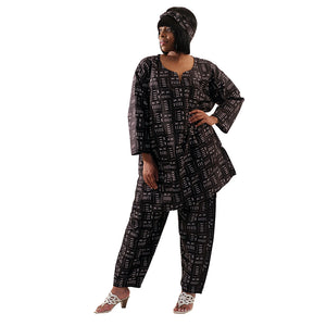 African Imports - Black Mud Print Pant Set  SKU: C-WH53: ( One Size Fits All )
