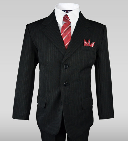 Caraevelli Classic Design Little Boy's Color- Black Pinstripe  2 Piece Suit SKU: 008346 Size - 8 Regular