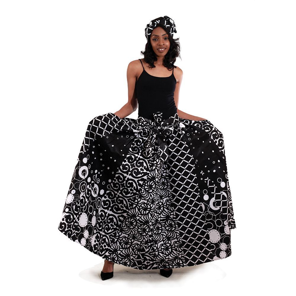 African Imports -  Black & White Pleated Maxi Skirt  SKU: C-WH112  ( One Size Fits All )