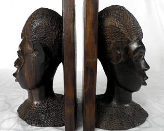 African Carved Book Ends Detail Carvings   SKU:XNTH