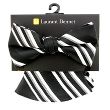 Load image into Gallery viewer, Laurant  Bennet Men's Dress Bow Tie + Round Hanky Pocket Square Fashion Striped Black Bow tie Set
