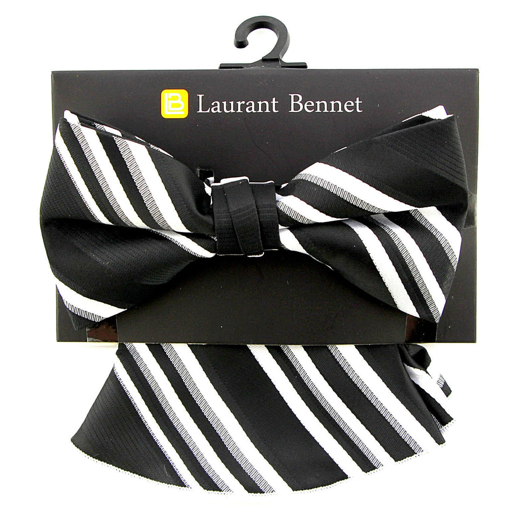 Laurant Bennet pocket hanky Black and White rounded edges