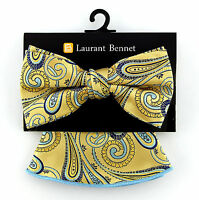 Laurant  Bennet Men's Dress Bow Tie + Round Hanky Pocket Square Fashion Striped Black Bow tie Set