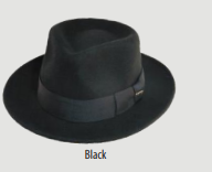 SCALA Black Wool Felt Fedora With Grosgrain Band