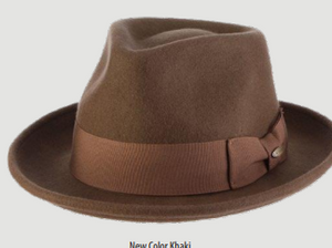 SCALA Khaki Wool Felt Fedora With Grosgrain Band