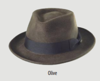 SCALA Olive Wool Felt Fedora With Grosgrain Band