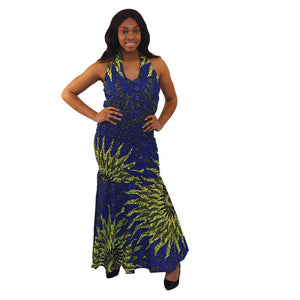 African Imports - Blue Sun Button Dress  Sku: C-W107  (One Size Fits All)