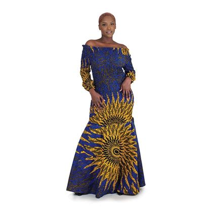 African Imports - Blue Sun Elastic Long Dress  Sku: C-W117 (One Size Fits All)