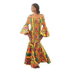 African Imports - African Made Kente Gown  Sku: C-W142 (One Size Fits All)