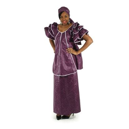 African Imports - Plum Ruffled Sleeve Brocade Skirt Set  Sku:C-W508 (One Size Fits All)