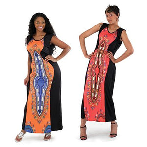 African Imports - Traditional Print Sleeveless Dress  2 Colors Blue / Pink  Sku: C-WF876 (One Size Fits All)