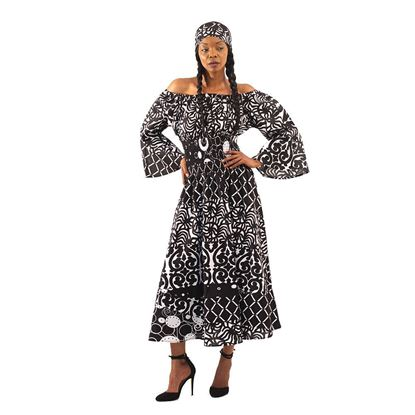 African Imports - Black & White Off-The-Shoulder Dress  Sku: C-WH506 (One Size Fits All)
