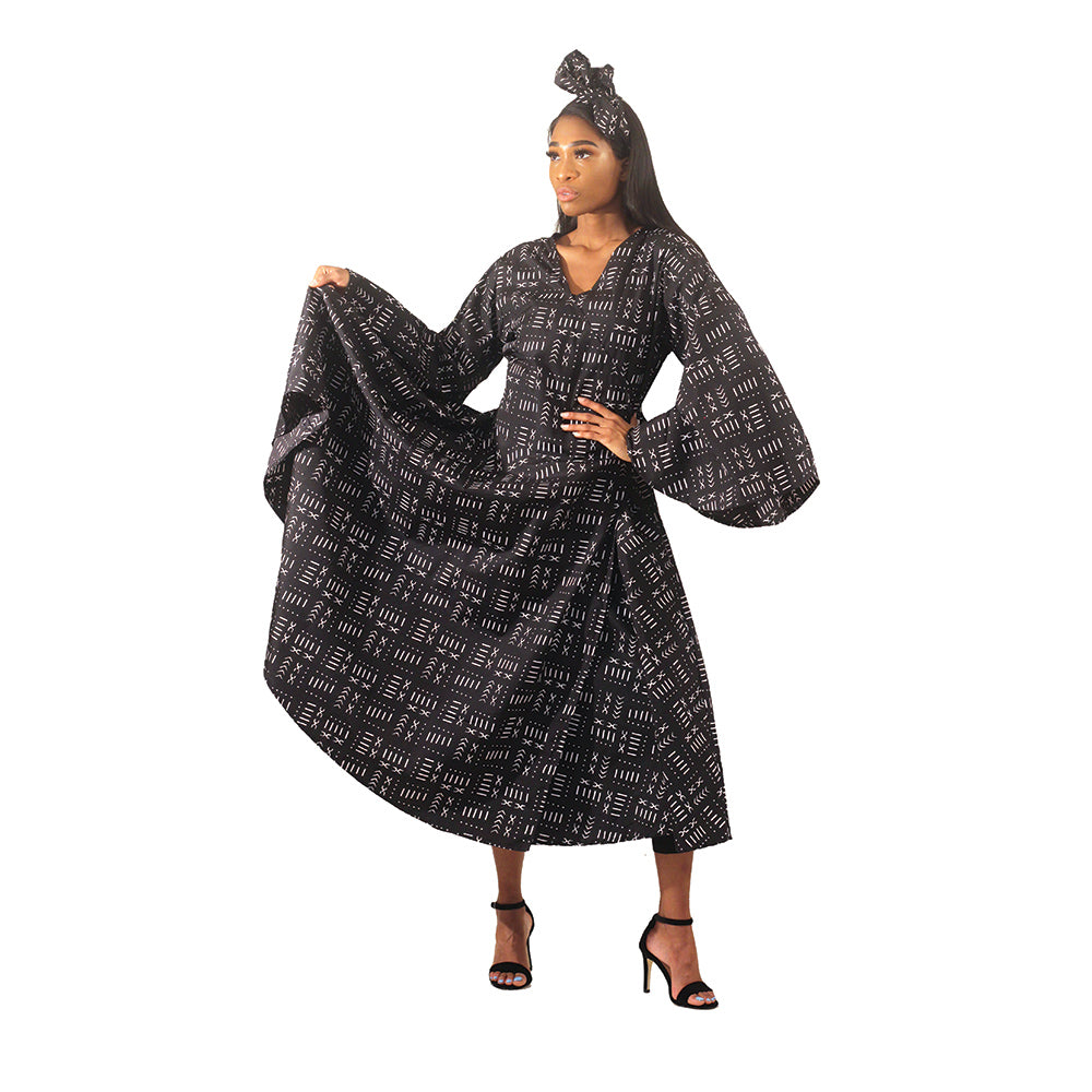 African Imports - Black Mud Print Wrap Dress Sku: C-WH636 (One Size Fits All)