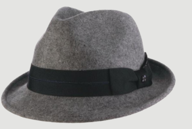 SCALA Granite Wool Felt Fedora Trilby With Grosgrain Band Button
