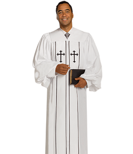 White Crepe Robe - Cleric H-6