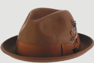 SCALA Pecan Wool Felt Fedora Trilby With Grosgrain Band