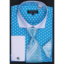 Load image into Gallery viewer, Avanti Uomo Fashion Dress Shirt Turquoise/White Polka Dots. DN47M