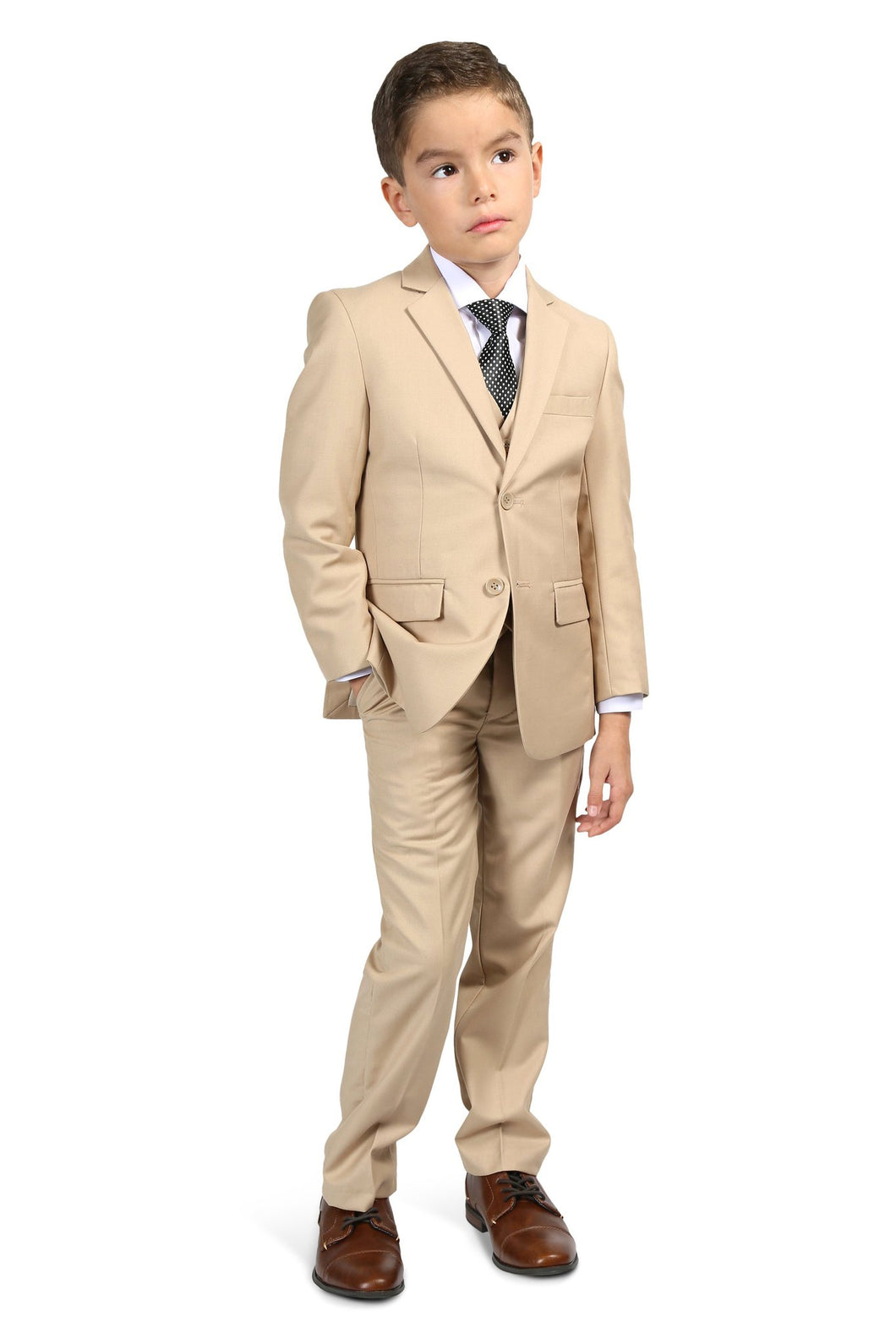 Braveman Little Boy's Suit  3 Piece Suit With Matching Shirt And Tie  Color - Bone Size- 2 Toddler SKU : 007001