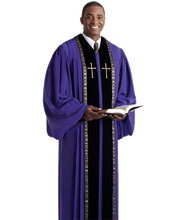Load image into Gallery viewer, Purple / Gold / Black Velvet Robe - RT Wesley H-205