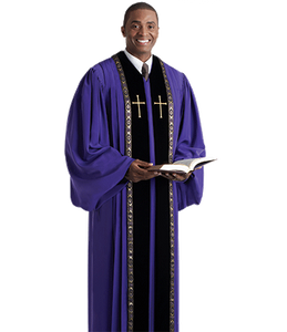 Purple / Gold / Black Velvet Robe - RT Wesley H-205