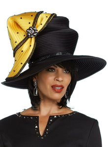 Donna Vinci Black and Yellow Hat - H11774