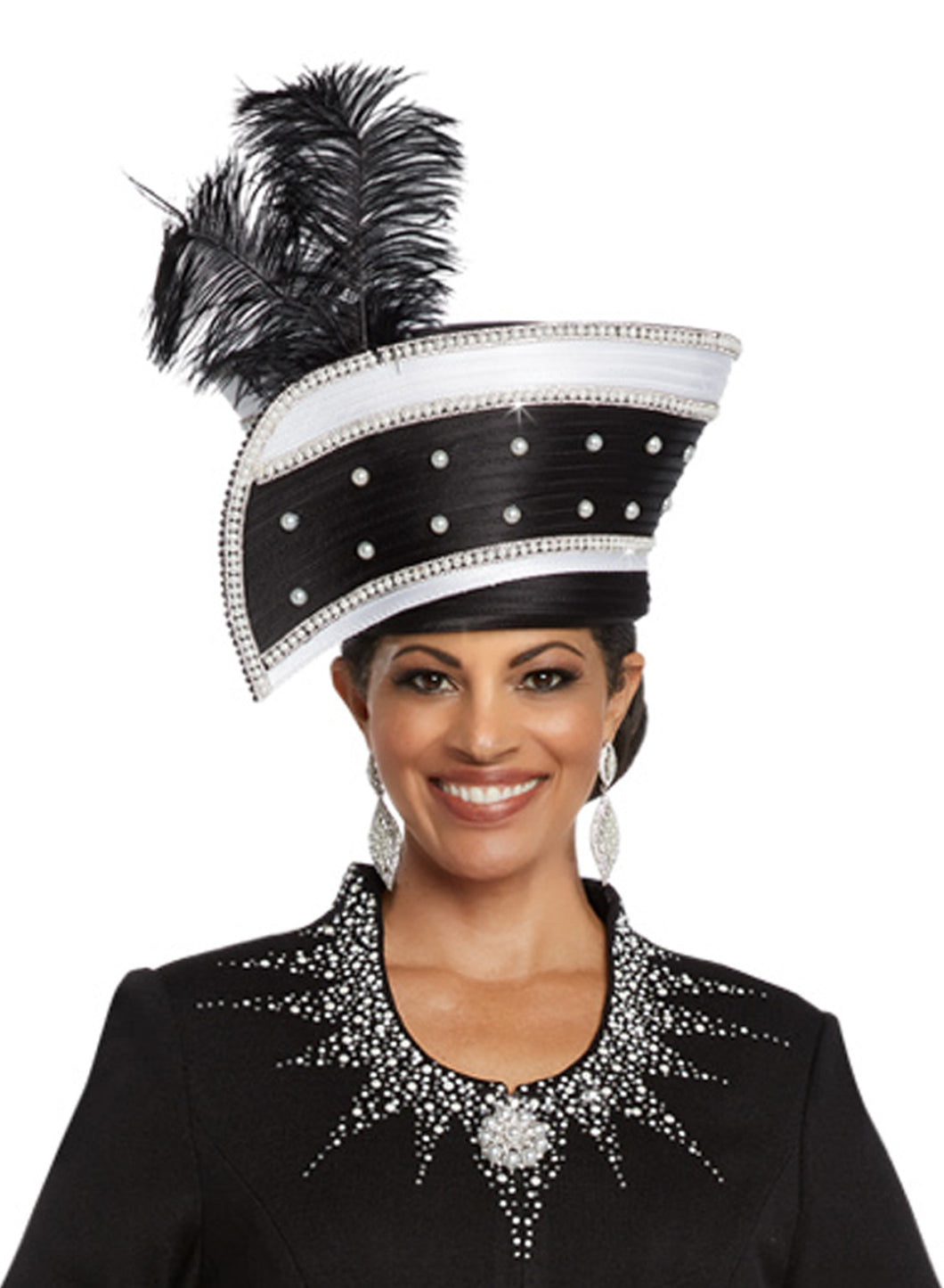 Donna Vinci Black and White Hat - H13273