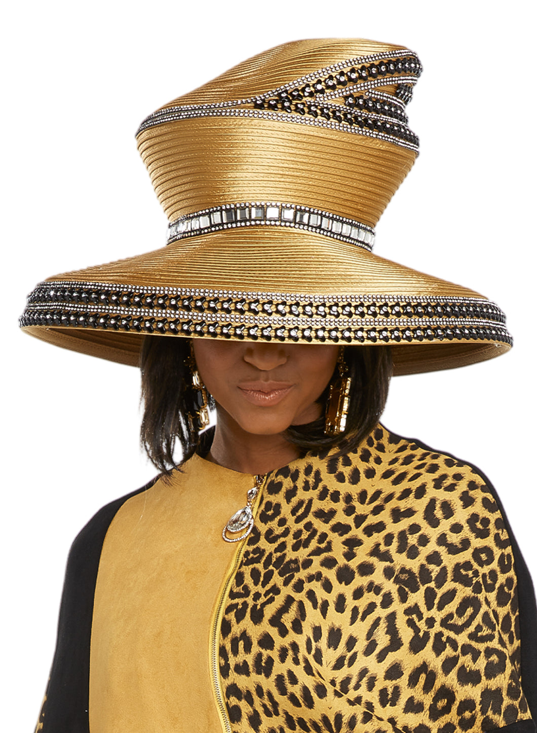 Donna Vinci Mustard and Black Hat - H5638