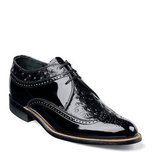 Stacy Adams Men's Dayton Ostrich Wingtip Oxford Black Shiny Patent Leather Upper With Ostrich Quill-Print Leather Accents