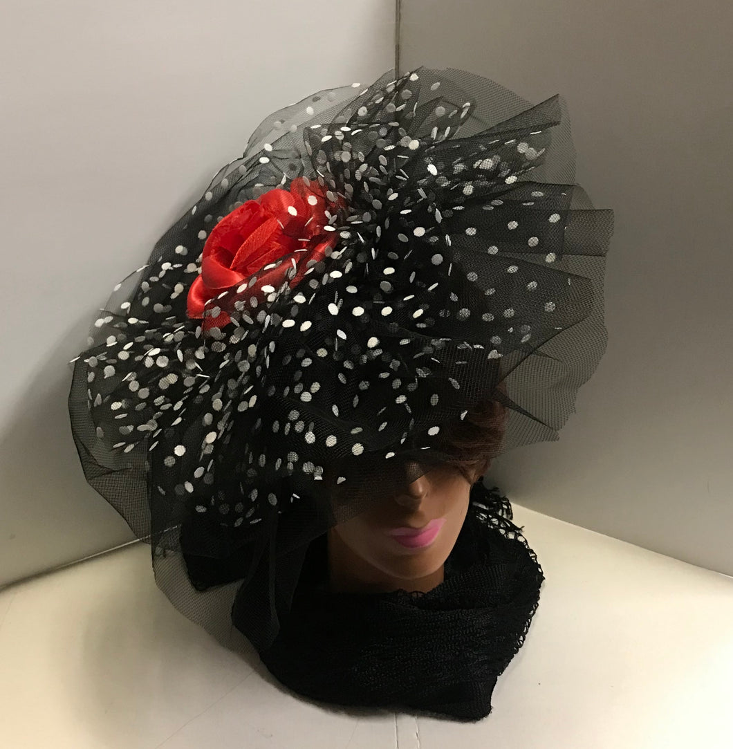 Judy Sharpe Collection - Women's Mesh Black With Red Bow Color Hat  SKU:HANAH