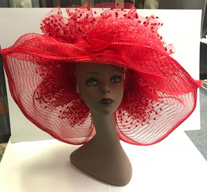 Judy Sharpe Collection - Women's Red Mesh Hat  SKU: HANAH