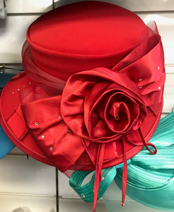 Red Ruffle Floral Hat