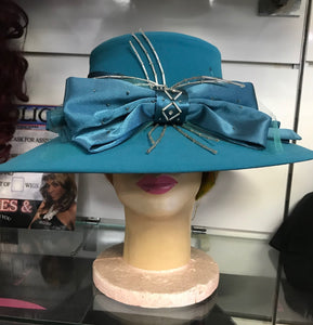 Teal Blue Rhinestone Bow Hat